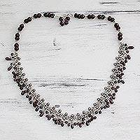 Garnet waterfall necklace, 'Mughal Regent' - Sterling Silver and Garnet Necklace from Indian Jewelry