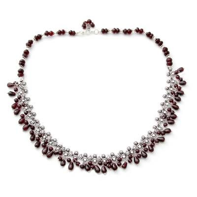 Sterling Silver and Garnet Necklace from Indian Jewelry