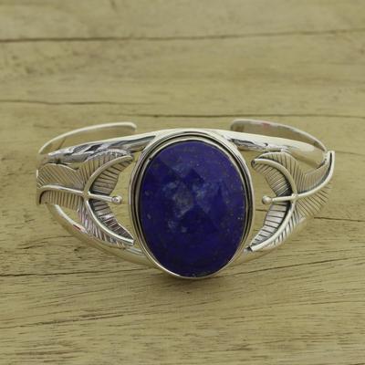 Lapis lazuli floral bracelet, 'Sea Blossom' - Handcrafted Sterling Silver Cuff Bracelet with Lapis Lazuli