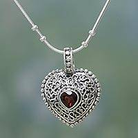 Garnet heart necklace, 'Glow of Love' - Love Style Sterling Filigree and Garnet Heart Necklace