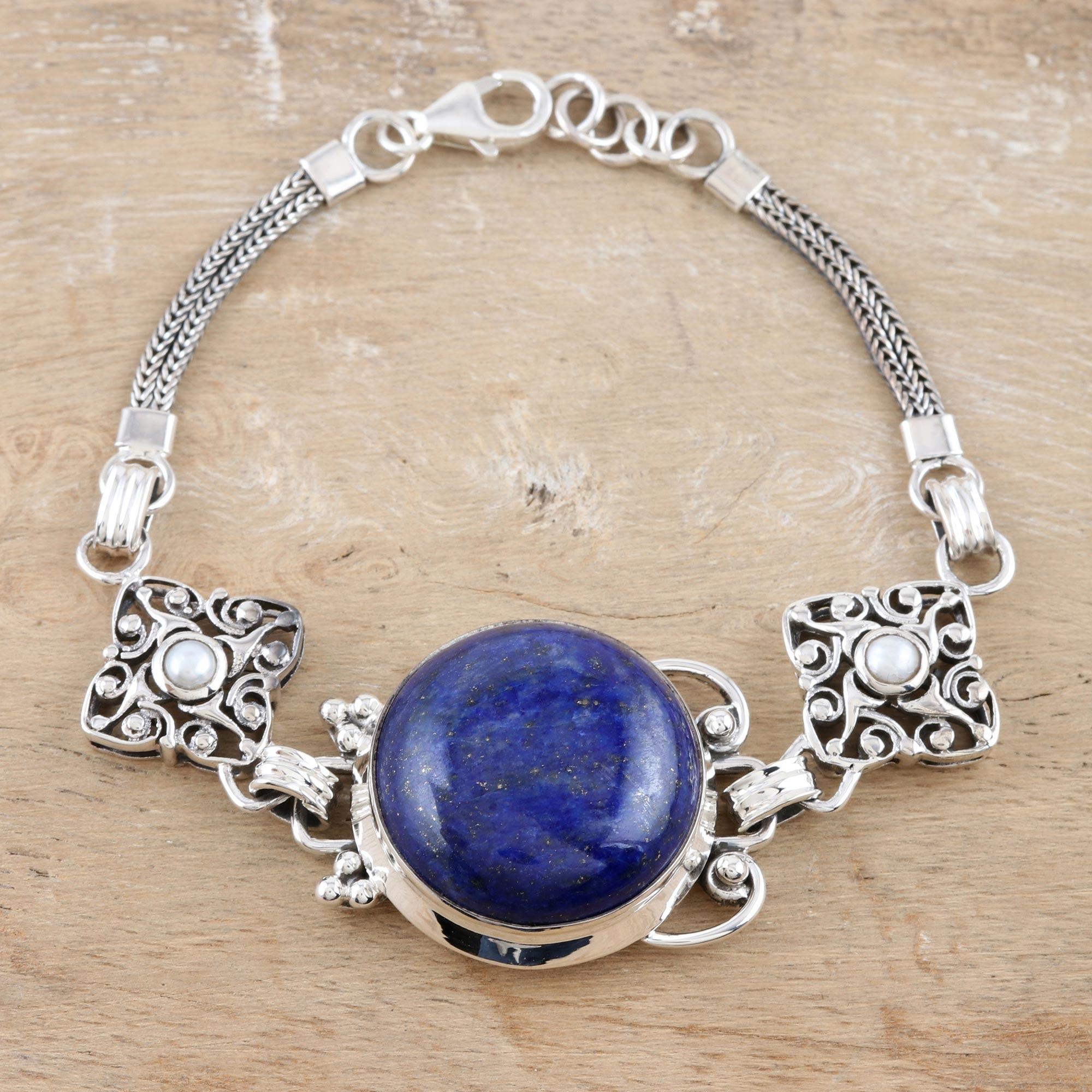 Sterling Silver Lapis Lazuli Bracelet gift set September birthstone necklace Lapis Lazuli pendant Lapis Lazuli Necklace
