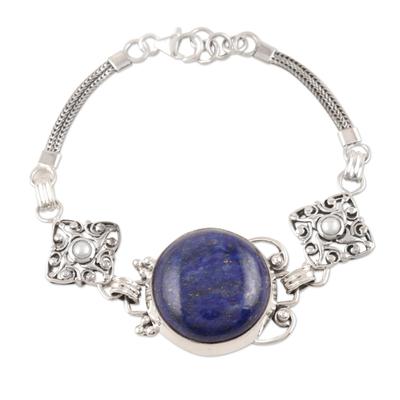 Lapis and pearl pendant bracelet, 'India Sky' - Sterling Silver and Lapis Lazuli Bracelet