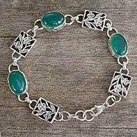 Sterling silver floral bracelet, 'Summer Green' - Sterling silver floral bracelet
