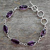 Amethyst tennis bracelet, 'Regal Violet' - Unique Sterling Silver and Amethyst Link Bracelet