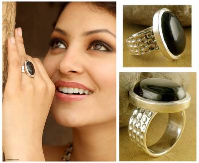 Onyx solitaire ring, 'Perfect Night' - Sterling Silver and Onyx Cocktail Ring