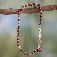 Garnet anklet, 'Scarlet Raspberry' - Handcrafted Sterling Silver and Garnet Anklet