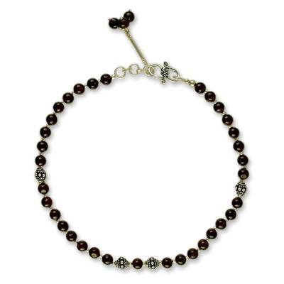 Handcrafted Sterling Silver and Garnet Anklet