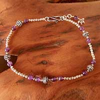 Amethyst anklet, 'Mystical Muse' - Amethyst Beaded Anklet Sterling Silver Indian Jewelry