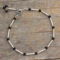 Onyx anklet, 'Legendary Muse' - Sterling Silver and Onyx Artisan Anklet
