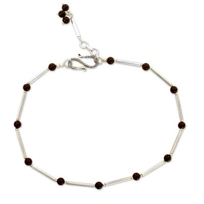 Artisan Crafted Onyx Anklet with Sterling Silver from India