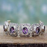 Amethyst link bracelet, 'Hypnotic Intuition' - Handcrafted Sterling Silver and Amethyst Bracelet
