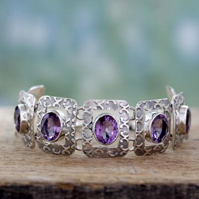 Amethyst link bracelet, 'Hypnotic Intuition' - Handcrafted Sterling Silver and Amethyst Bracelet