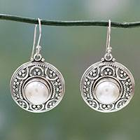 Pearl dangle earrings, 'Peaceful' - Handcrafted Pearl and Sterling Silver Dangle Earrings
