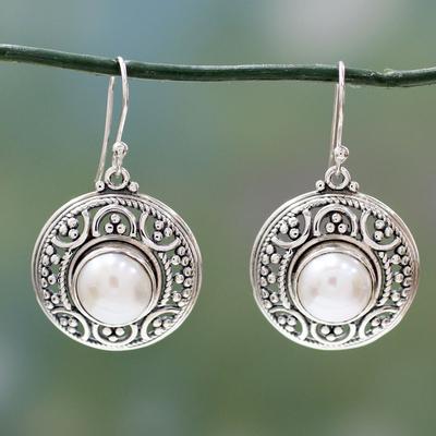 Pearl dangle earrings, 'Peaceful' - Handmade Pearl and Silver Dangle Earrings