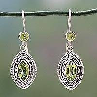 Peridot dangle earrings, 'Springtime Muse' - Handcrafted Sterling Silver and Peridot Earrings