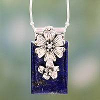 Lapis lazuli flower necklace, 'Blue Lily' - Fetching Sterling Silver Women's Necklace with Lapis Lazuli