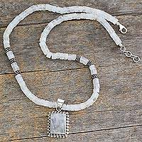 Moonstone pendant necklace, 'Morning Glow' - Moonstone Women's Necklace Sterling Silver Jewelry