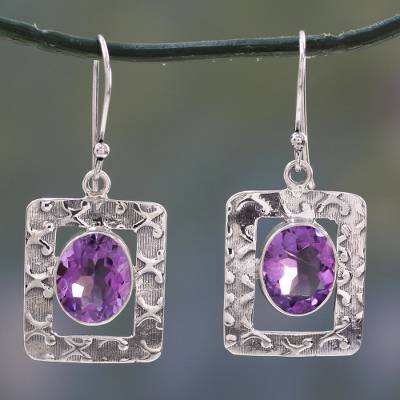 Amethyst dangle earrings, 'Hypnotic Intuition' - Amethyst Earrings from India Sterling Silver Jewelry