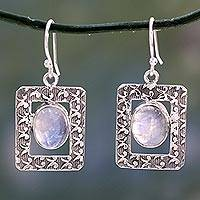 Rainbow moonstone dangle earrings, 'Hypnotic Intuition'