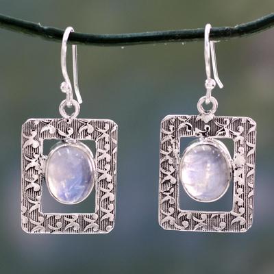 Rainbow moonstone dangle earrings, 'Hypnotic Intuition' - Rainbow Moonstone dangle earrings