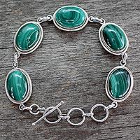 Malachite link bracelet, 'Bold Chic' - Handcrafted jewellery Sterling Silver Malachite Bracelet