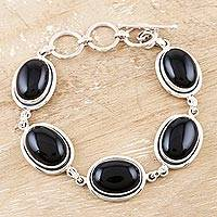 Onyx link bracelet, 'Bold Chic' - Onyx Bracelet with Sterling Silver from India Jewelry
