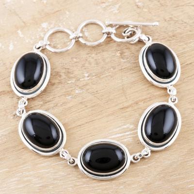 Onyx link bracelet, 'Bold Chic' - Onyx Bracelet with Sterling Silver from India Jewelry
