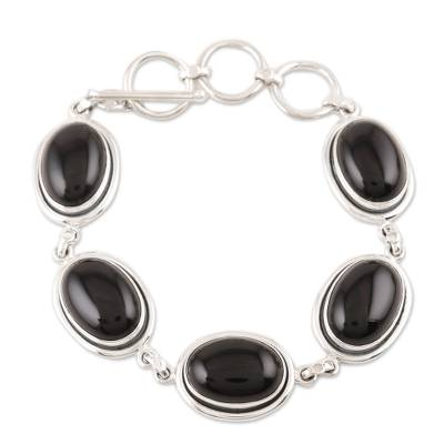 Onyx Bracelet with Sterling Silver from India Jewelry
