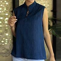 Cotton blouse, 'Indigo Sky' - Cotton Blouse Top Natural Dyes India Art
