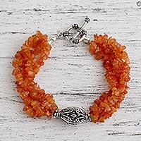 Carnelian torsade bracelet,