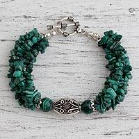 Malachite torsade bracelet, 'Natural Sophistication'