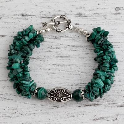 Malachite torsade bracelet, 'Natural Sophistication' - Malachite torsade bracelet