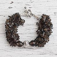 Smoky quartz torsade bracelet, 'Natural Sophistication' - Smoky quartz torsade bracelet