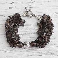 Smoky quartz torsade bracelet,