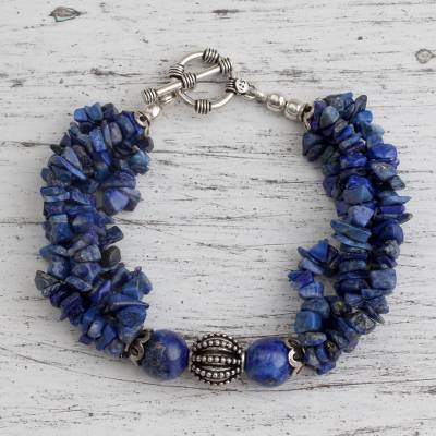Lapis lazuli torsade bracelet, 'Natural Sophistication' - Lapis lazuli torsade bracelet