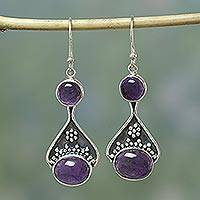 Amethyst dangle earrings, 'Renewal' - India Floral Jewelry Sterling Silver and Amethyst Earrings