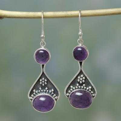 Amethyst dangle earrings, 'Renewal' - India Floral jewellery Sterling Silver and Amethyst Earrings