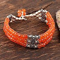Carnelian beaded bracelet, 'Glow of Love'