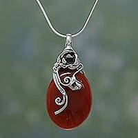 Carnelian pendant necklace, 'Zealous Rose' - Carnelian and Silver Pendant Necklace
