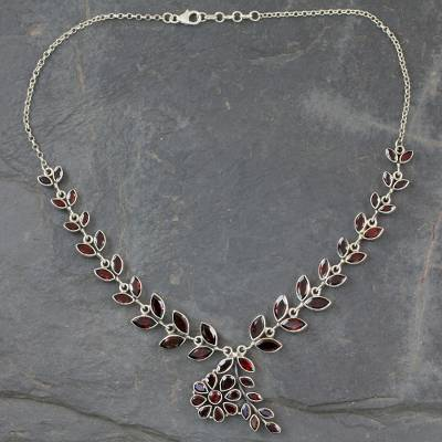 Floral Sterling Silver and Garnet Necklace 'Scarlet Garland' (India)