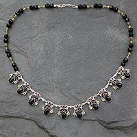 Onyx and amethyst waterfall necklace, 'Abundance'