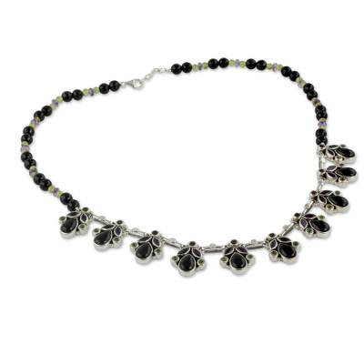 Onyx and Multigem Sterling Silver Waterfall Necklace