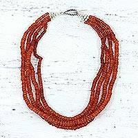Carnelian strand necklace, 'Love's Fire'