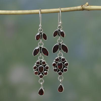 Garnet flower earrings, 'Red Rose' - Handcrafted Floral Sterling Silver and Garnet Earrings