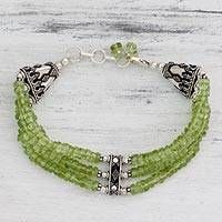 Peridot beaded bracelet, 'Fresh Green' - Handcrafted Peridot Bracelet with Sterling Silver