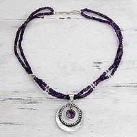 Amethyst pendant necklace, 'Beautiful Essence' - Indian Jewelry Sterling Silver Beaded Amethyst Necklace