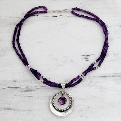 Amethyst pendant necklace, 'Beautiful Essence' - Indian jewellery Sterling Silver Beaded Amethyst Necklace