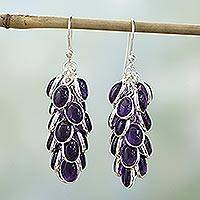 Amethyst cluster earrings, 'Grapes of Love'