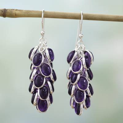 Amethyst cluster earrings, 'Grapes of Love' - Sterling Silver and Amethyst Earrings Indian Jewelry