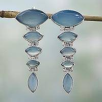 Chalcedony dangle earrings, 'India Blue' - Sterling Silver and Chalcedony Earrings from India Jewelry